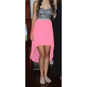 Dresses & Skirts - Strapless Rosy Ruffled Dress Pearly Empire Waist